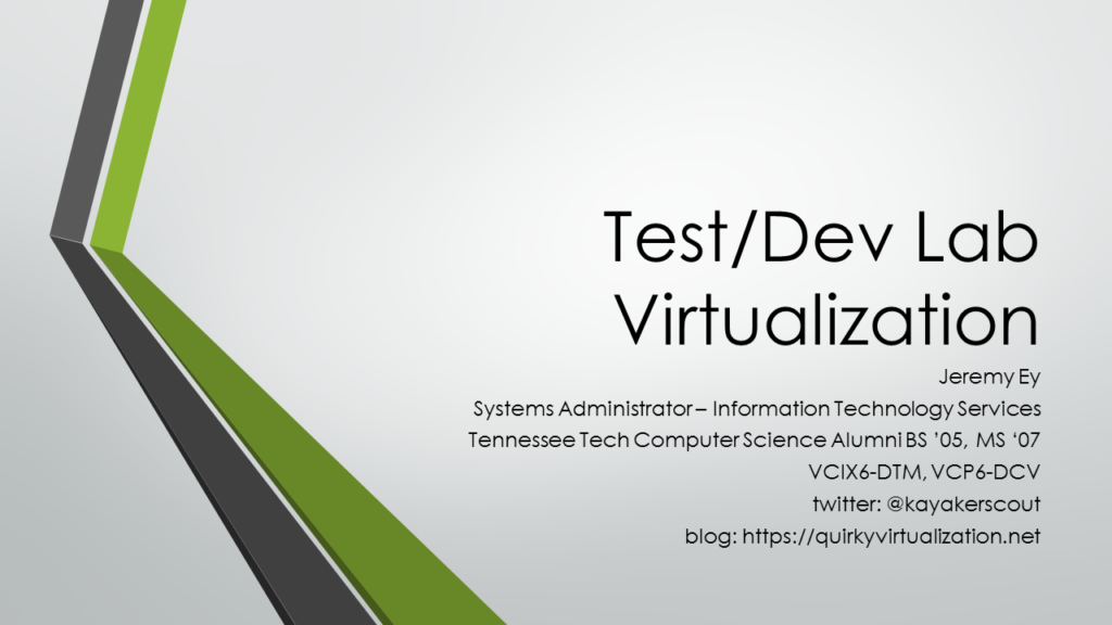 Test/Dev Lab Virtualization Slides