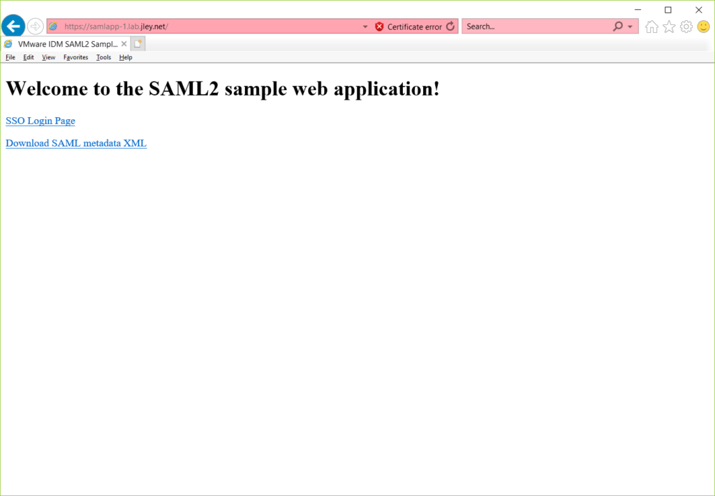 sample application as viewed in web browser